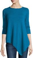 Neiman Marcus Three-Quarter-Sleeve Asymmetric Cashmere Top