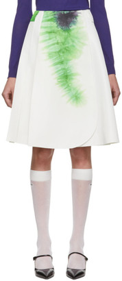 Prada White and Green Silk Tie-Dye Skirt