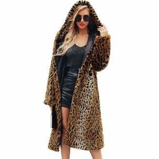 HOOUDO Women's Coat Winter Autumn Fashion Casual Sexy Ladies Warm Faux Fur Jacket Leopard Hooded Cardigan Parka Outerwear Overcoat(XL