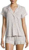 Eberjey Print Boxer-Short Pajama Set, Pearl Pink/Gray