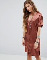 Glamorous Button Front Tea Dress In Satin