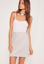 Missguided Drape Front Panel Mini Skirt Grey