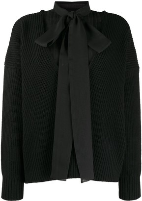 Sacai Ribbed-Knit Combined Jumper