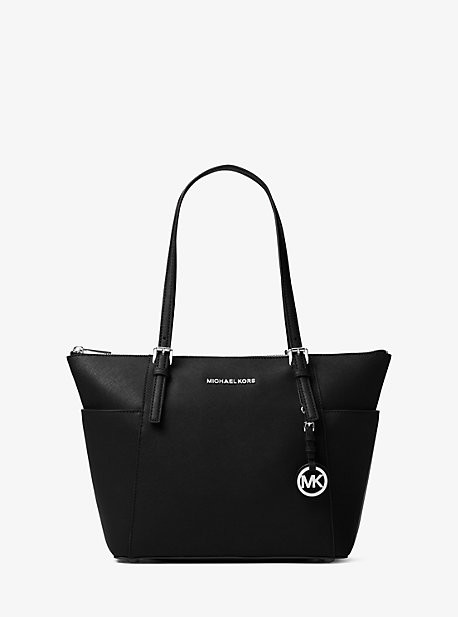 MICHAEL Michael Kors MK Jet Set Saffiano Leather Top-Zip Tote Bag - Black - Michael Kors
