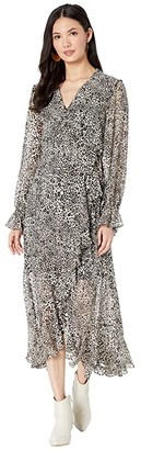 BCBGMAXAZRIA Printed High-Low Dress (Optic White Swirling Leopard) Women's Clothing