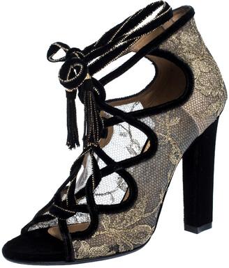 Salvatore Ferragamo Gold Lace And Black Velvet Tokara Ankle Wrap Sandals Size 37.5