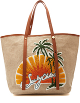 See by Chloe Andy sunset-embroidered linen tote