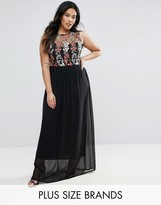 Club L Plus Maxi Dress With Embroidered Top