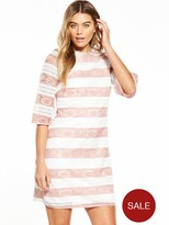 Little Mistress Crochet Stripe Short Sleeve Shift Dress - Peach