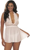 Shirley of Hollywood Women's Plus-Size Queen Size Flattering and Fabulous Halte Babydoll with G String
