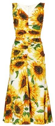 Dolce & Gabbana Sunflower-print Gathered Midi Dress - Womens - Yellow Multi