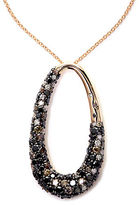 EFFY 14Kt. Rose Gold Necklace with Black Brown & White Diamond Pendant