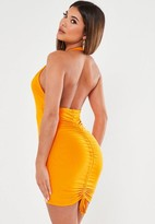 Missguided Orange Slinky Cut Out Front Ruched Bum Mini Dress