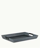 GiGi New York Rectangle Parlor Tray Grey Shagreen Leather
