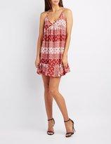 Charlotte Russe Border Print Babydoll Dress
