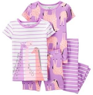 Carter's Baby Girls Giraffe Pajama Set, 4 Pieces