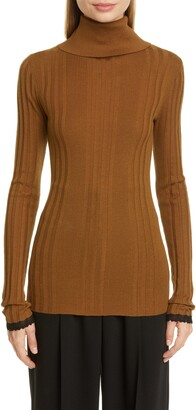 Proenza Schouler Ribbed Silk & Cashmere Blend Turtleneck Sweater
