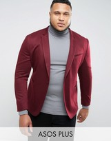 Asos PLUS Super Skinny Blazer In Burgundy Jersey