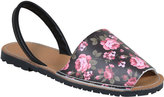 Yours Clothing Black Real Leather Floral Peep Toe Sandals In E Fit