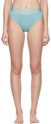 Versace Underwear Blue Greca Border High Leg Briefs