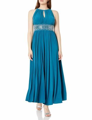 R & M Richards R&M Richards Women's Halter Neck Beaded Waist Formal Dress
