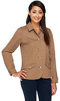 Liz Claiborne New York Button Front Stretch Twill Jacket