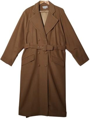 Emmanuelle Khanh Beige Wool Coat for Women Vintage