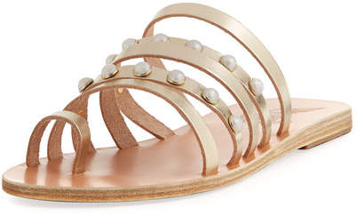 Ancient Greek Sandals Niki Pearly Studded Multi-Strap Flat Sandal, Silver