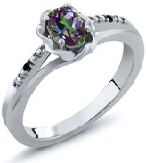 Gem Stone King 0.51 Ct Oval Green Mystic Topaz Black Diamond 14K White Gold Ring