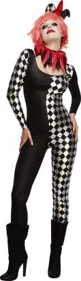 Fever Women's Harlequin Jester Costume Black with Catsuit Collar and Hat