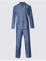 M&S Collection Pure Cotton Herringbone Pyjama Set