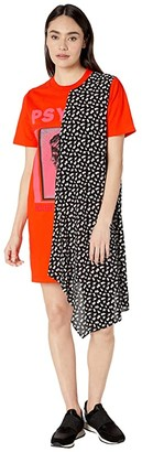 McQ Hybrid Tee Dress (Orange Voltage) Women's Dress