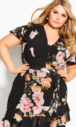 City Chic Flutter Tuscan Dress - tuscan rose