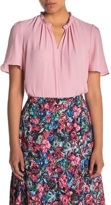 T Tahari Front Keyhole Woven Shirt (Petite)