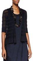 Eileen Fisher Linen Striped Cardigan, Ink, Petite