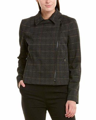 Tahari ASL Women's Plaid Moto Jacket with Zippers