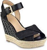 GUESS Women's Sanda Wedge Sandal -Blue Denim Fabric