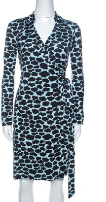 Diane von Furstenberg Bicolor Print Silk New Jeanne Two Wrap Dress S