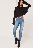 Missguided High Rise Seam Front Step Hem Jeans Blue