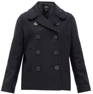 A.P.C. Double-breasted Wool-blend Peacoat - Womens - Black