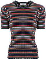 Pringle ribbed striped-knit top