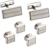 Ryan Seacrest Distinction Brushed Rhodium Cufflinks & Inserts Dress Set