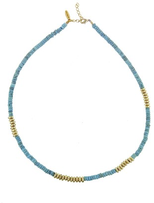 Allthemust Turquoise Shell and Copper Precieux Bead Necklace - Yellow Gold