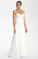 JS Boutique Pearl Trim Crisscross Matte Jersey Gown