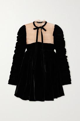 KHAITE Ann Tie-detailed Ruched Velvet And Tulle Mini Dress - Black