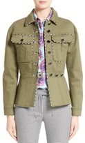 Altuzarra Women's Feday Gabardine Military Jacket With Python Print Piping