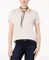 Bar III High-Low Zip-Back T-Shirt, Created for Macy's