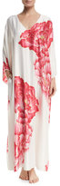 Natori Peony Drop-Sleeve Lounge Caftan, White Pattern
