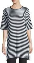 Eileen Fisher Half-Sleeve Striped Organic-Linen Sweater, Graphite/White, Plus Size