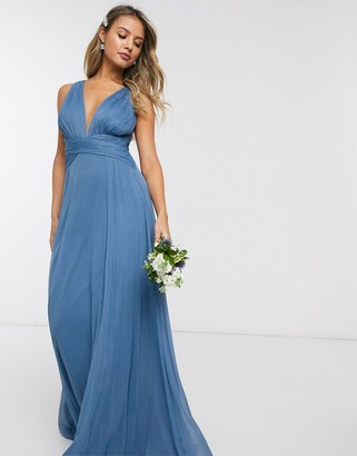 ASOS DESIGN Bridesmaid ruched bodice drape maxi dress with wrap waist in blue
